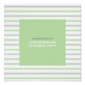 """Amara Stripe Pistachio Retirement Party Invite 5.25"""" Square Invitation Card"""