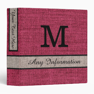 Amaranth Deep Purple Burlap Linen Monogram Binder