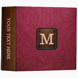 Amaranth deep purple Leather Look Monogram Binder