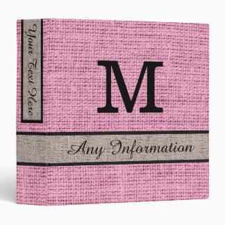 Amaranth Pink Burlap Linen Monogram Binder