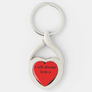 Amaré siempre u llavero plateado en forma de corazón