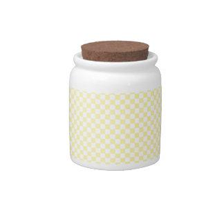 - Amarillo 2 - amarillo claro a cuadros y maíz Jarras Para Caramelos