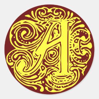 """Amarillo """"A """" de Monarchia Pegatina Redonda"""