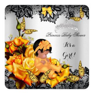 """Amarillo afroamericano de la mariposa del chica de invitación 5.25"""" x 5.25"""""""