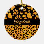 Amarillo anaranjado del estampado leopardo y de adorno
