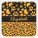 Amarillo anaranjado del estampado leopardo y de pegatinas cuadradases personalizadas