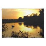 Amarillo anaranjado del lago swan de la puesta del mantel individual