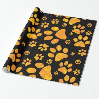 Amarillo anaranjado del modelo de la impresión de papel de regalo