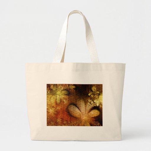 Amarillo anaranjado floral del Grunge del otoño Bolsas Lienzo