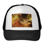 Amarillo anaranjado floral del Grunge del otoño Gorros Bordados
