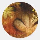 Amarillo anaranjado floral del Grunge del otoño Pegatina Redonda