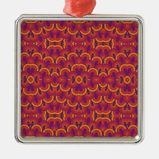 Amarillo anaranjado púrpura del caleidoscopio adorno cuadrado plateado