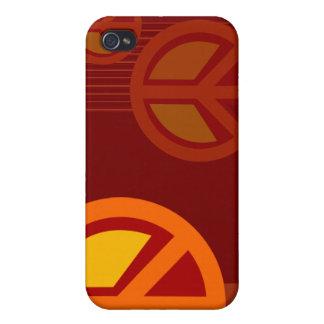 Amarillo anaranjado rojo de la paz del símbolo iPhone 4/4S fundas