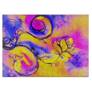 Amarillo anaranjado rosado azul de las FLORES Tabla Para Cortar