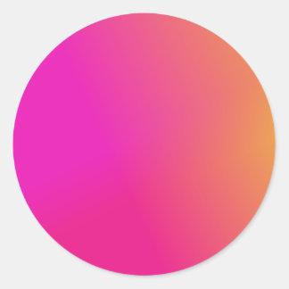 Amarillo anaranjado rosado Ombre Pegatina Redonda