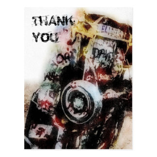 Amarillo Auto Graffiti Grunge Thank You Postcard