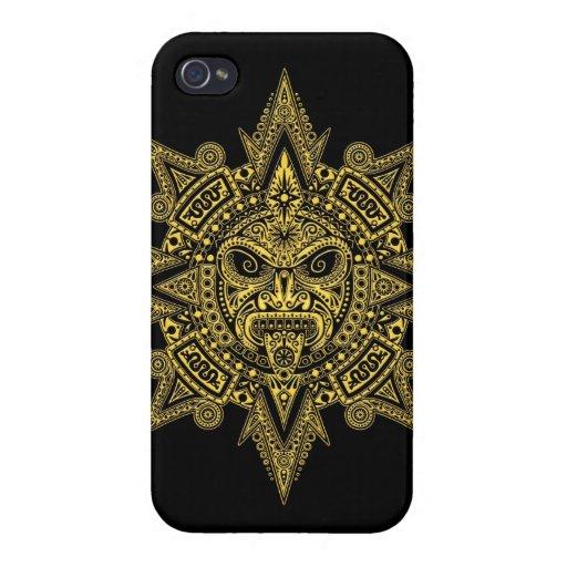 Amarillo azteca de la máscara de Sun en negro iPhone 4 Funda