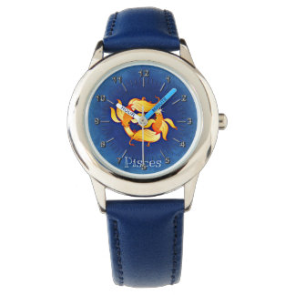 Amarillo azul de Piscis Relojes