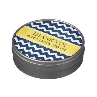 Amarillo azul del boda del favor de la lata de frascos de dulces