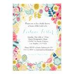 Amarillo azul del boda del rosa floral rústico de  invitación personalizada