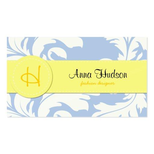 Amarillo azul del damasco ornamental barroco venec tarjetas de visita