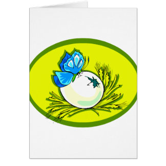 amarillo azul design.png oval de la mariposa del tarjeta pequeña