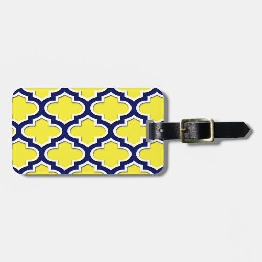 Amarillo, azul marino, marroquí blanco Quatrefoil  Etiqueta De Equipaje