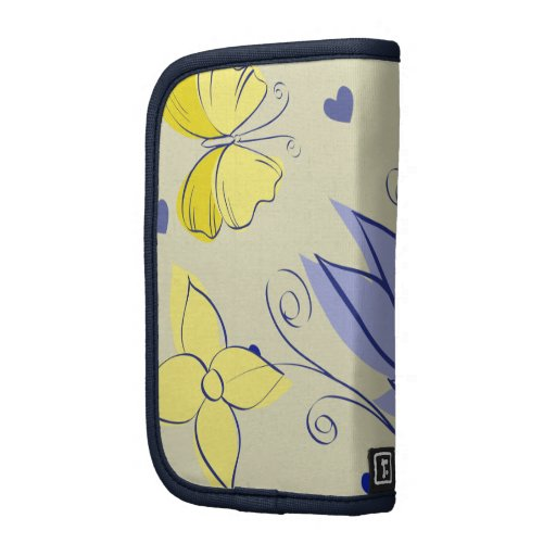Amarillo azul retro lindo de las mariposas y de la planificadores