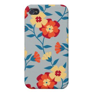 Amarillo azul y caja floral moderna anaranjada de iPhone 4 carcasas