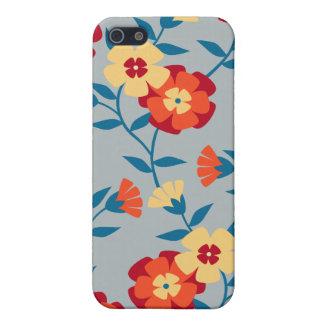 Amarillo azul y caja floral moderna anaranjada de iPhone 5 protectores