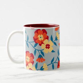 Amarillo azul y taza de café floral moderna anara