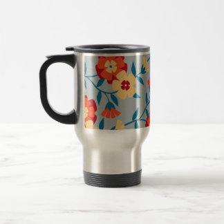 Amarillo azul y taza floral moderna anaranjada de
