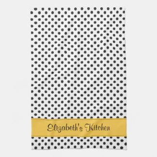 Amarillo blanco negro personalizado del lunar toalla de mano