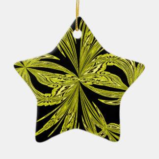 Amarillo botánico abstracto adorno de cerámica en forma de estrella