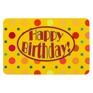 Amarillo brillante con feliz cumpleaños de los lun imán rectangular