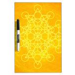 Amarillo brillante de la geometría sagrada de la m tableros blancos