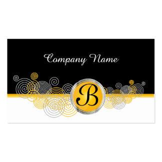 Amarillo brillante, extracto blanco y negro tarjetas de visita
