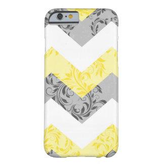 Amarillo, caja floral gris del iPhone 6 del galón Funda De iPhone 6 Barely There