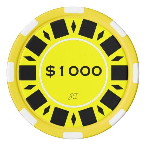 Amarillo casero $1000 del póker del torneo con su fichas de póquer