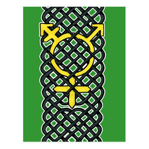 Amarillo céltico del símbolo del transexual postal