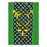 Amarillo céltico del símbolo del transexual tarjeta de felicitación