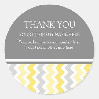 Amarillo Chevron del nombre de Business Thank You Pegatinas Redondas