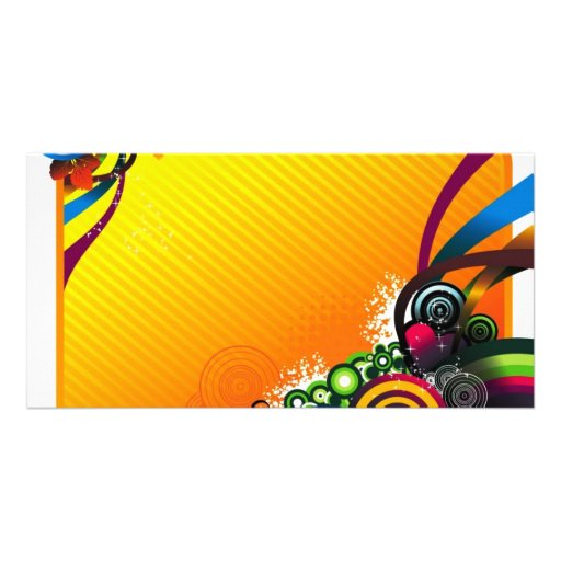 amarillo-círculo tarjeta con foto personalizada