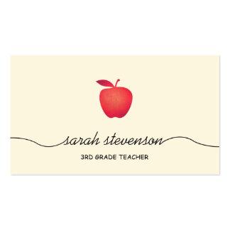 Amarillo claro simple del profesor de escuela rojo tarjetas de visita