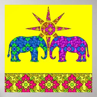 Amarillo colorido brillante de los elefantes de póster