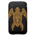 Amarillo complejo y tortuga del Mar Negro iPhone 3 Tough Carcasa