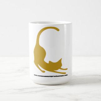 Amarillo común del logotipo de los gatos taza de café