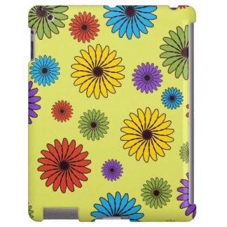 Amarillo con la caja colorida del iPad de las flor