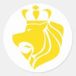 Amarillo coronado reggae del león de Rasta Etiqueta Redonda