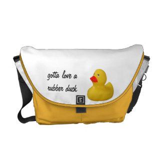 Amarillo de goma lindo, novedad de la diversión, r bolsas de mensajería